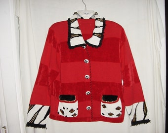 Vintage 90s Red Cotton Chenille Cardigan Sweater Ladies Beaded Animal Print L As Is
