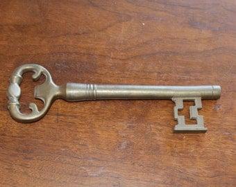 "Decorative brass key, key to your heart, key to the city, door key, 8"" key"