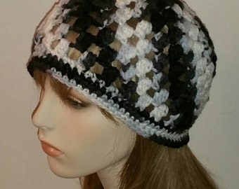 Crochet Beanie Cloche Hat in Black, White and Grey
