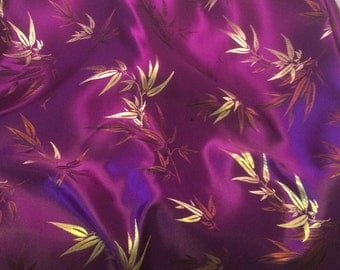 Purple Bamboo - Faux Silk Brocade Fabric - 1/4 Yard