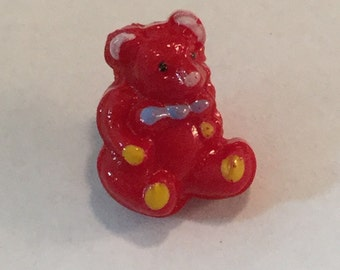 Vintage Glass  Button - Hand Painted Red Teddy Bear