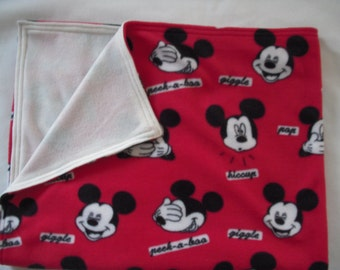 Mickey Mouse Faces Sewn Fleece Lap Blanket