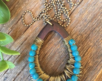 Tribal Inspired Wood and Brass Pendant w/Micro Ball Chain