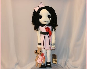 Hand Stitched Broken Bloody Heart Rag Doll With Teddy Bear Creepy Gothic Horror Outsider Art By Jodi Cain Tattered Rags