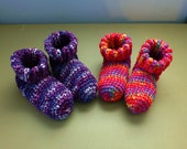 Reserved for Christine Two Pair Crochet Slipper Socks Booties Multi Color Size 9