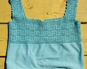 Vintage Camisole Filet Crochet Robins Egg Blue Large