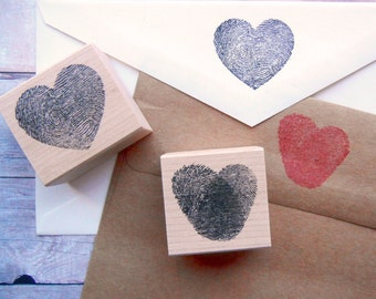 Thumbprint Fingerprint Heart Rubber Stamp / Weddings, Valentines - 2 styles available -  Handmade by BlossomStamps
