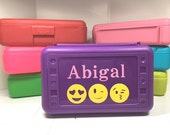 Custom Personalized Pencil box, case with emoji and name for back to school