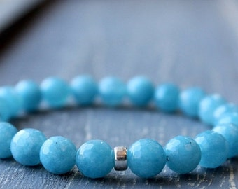 On SALE / CIJ Sale / Blue Jade Bracelet, Sterling Silver Stone Bracelet Blue Stretch Bracelet Semi Precious Stone Stacking Bracelet