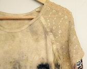 eco dyed cotton embroidered knit top or tshirt altered couture