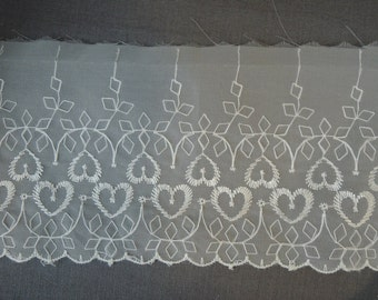 4 Yards Embroidered Hearts Chiffon Trim, Vintage 1950s Sheer White Nylon Trim, Lingerie or Wedding