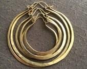 Thick Hoop Earrings Large Hoops Brass Hoop Earrings Hammered Hoop Earrings DanielleRoseBean Custom Hoop Earrings Big Hoops