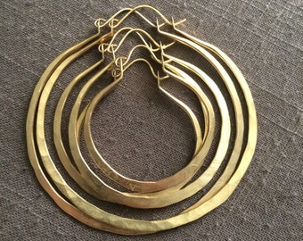 Thick Hoop Earrings Large Hoops Brass Hoop Earrings Hammered Hoop Earrings DanielleRoseBean Custom Hoop Earrings Big Hoops