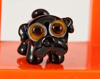 Black Pug Lampwork Glass Bead