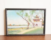 Vintage Asian Silk Tapestry Chinese Temple TEXTILE ART Wood Frame