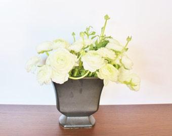 Vintage Floraline black ceramic pedestal bowl