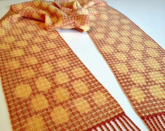 Handwoven, Hand Painted Scarf - Coral with Yellow Organic Polka Dots by Frederick Avenue #roanokeweaver
