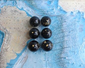 SALE! 6 vintage round black painted wood ball knobs