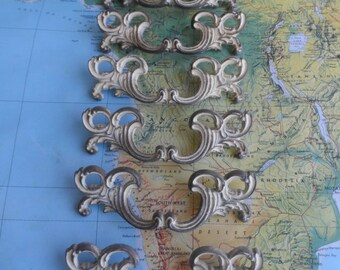 SALE! 6 mid century ornate brass metal French Provincial handles