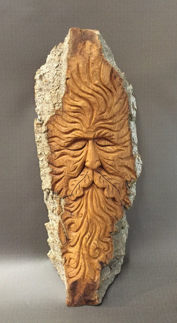 Hand carved original green man wood spirit from year old