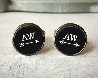 Personalized Cufflinks, Cuff Links for Groom, Monogram Cufflinks for men, Wedding Cufflinks, Custom Keychain, Brass or Silver