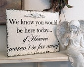 MEMORY TABLE SIGN, In Memory of Sign, Wedding Signs, We know you would be here today if heaven weren't so far away, 8 x 10