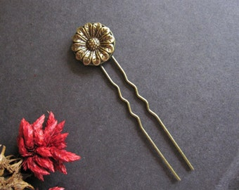 Flower Hair Fork, Bohemian Wedding, Wild Flower, Victorian Hair Stick, Boho Hair Pin, Woodland Wedding, Flower, Antique Brass, Floral