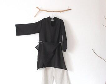 black hanky linen ao dai robe with kimono fabric toggles ready to wear size M