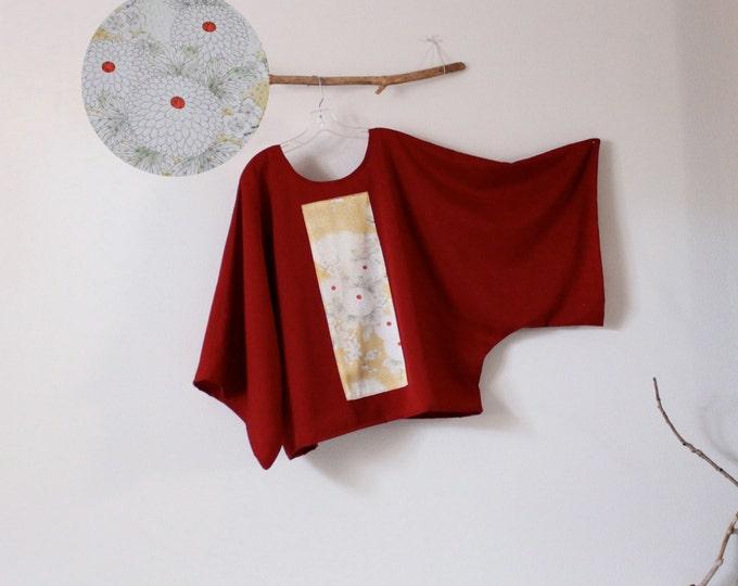 ready to wear oversized burgundy red gab wool top with vintage kimono panel / red wool kimono top / plus size kimono top /