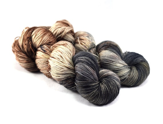Cobblestone Square - Postcard- Speckled Sock Yarn - Neutral Hand dyed yarn - Yarn for men - Merino/Nylon, 400 yards/100g