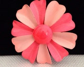 Vintage Pink Layered Metal Enamel Daisy Flower Brooch Pin 2.5 inches