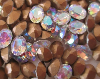 12pc 8x6mm Crystal ab MC Swarovski Art 4120 Swarovski Crystal AB Triple Facets 8x6mm Ovals Iridescent Crystals Iridescent Ovals