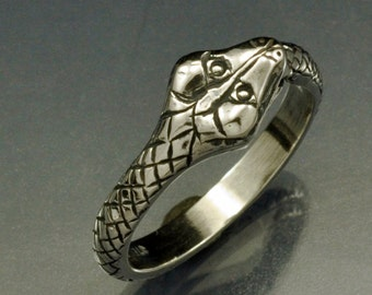 Sterling Silver Snake Eating His Tail Ring