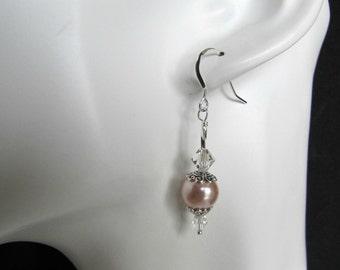 Pink Pearl Earrings, Dangle Pearl Earrings, Pink Faux Pearl Earrings, Sterling Earwires, Wedding Jewelry, Bridal, Casual Jewelry,  Item 1184