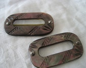 Set of 2 VINTAGE Rectangle Carved Iridescent Smokey Pearl Shell Belt BUCKLES