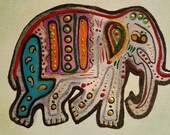 Colorful Elephant Hindu Original Painting ACEO Art