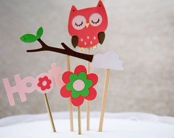 Owl theme cake toppers