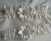 Christmas Snowflake Wedding Garter Light Ivory Garter