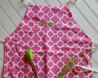Kids-Aprons-Pink-Coif-Deco-Chef-Art-Cooking-Kitchen-Baking-Play-Dough-Summer-Garden-Back-To-School-Smocks-Holiday-Birthday-Toddler-Gifts