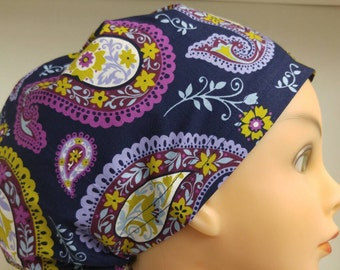 Womens Hybrid Style Surgical Scrub Hat Chemo Chef Cap Purple Paisley Avenge