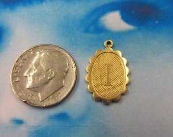 Natural Raw Brass Alphabet Letter Charm I 885RAW x1