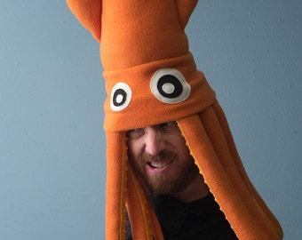 Large Plush Squid Hat - Orange