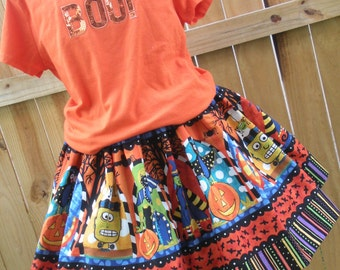 Ready to Ship Custom Boutique Halloween Twirl Skirt Girl 3 or 4 or  5 or  6 or 7 or  8  it's   15 inches long  RTS