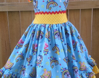 Ready to Ship Custom My Little Pony Girl Dress Will Fit Sizes 4 5 6