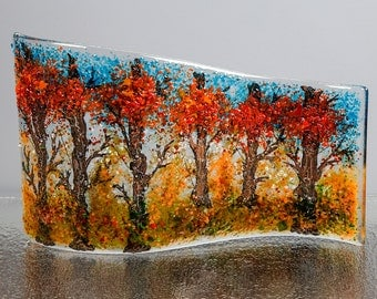 Fused Glass Decorative Panel - BluDragonfly SRA - Fall Scene - Large Glass Panel