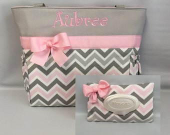CHEVRON  in Zoom Zoom ... Pink Gray   .. .. Tote  ...   Diaper Bag and WIPE Cover ... Monogrammed  FReE