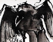 Mini ink painting on canvas 3,5x2,5in art card - Raven portrait - spread wings