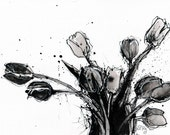 Ink drawing on canvas A4 (20x30cm) - black and white tulips