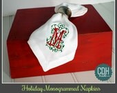 Christmas Holiday Monogrammed Napkins - Montrose - 20 x 20 - Holiday Sale Pricing