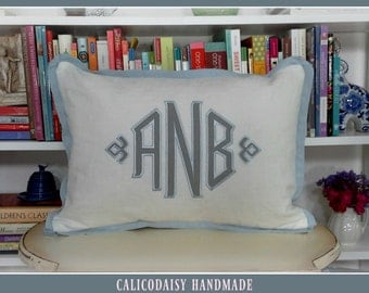 Applique Framed Monogrammed Pillow Cover - Butterfly Flange - Lumbar